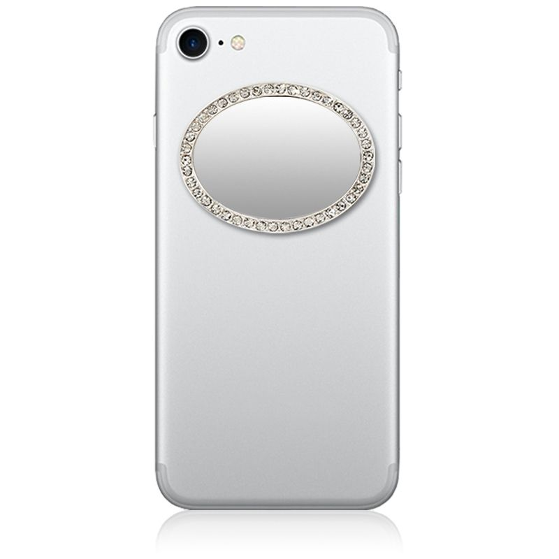 Unbreakable Oval Phone Mirror - Silver with Crystals