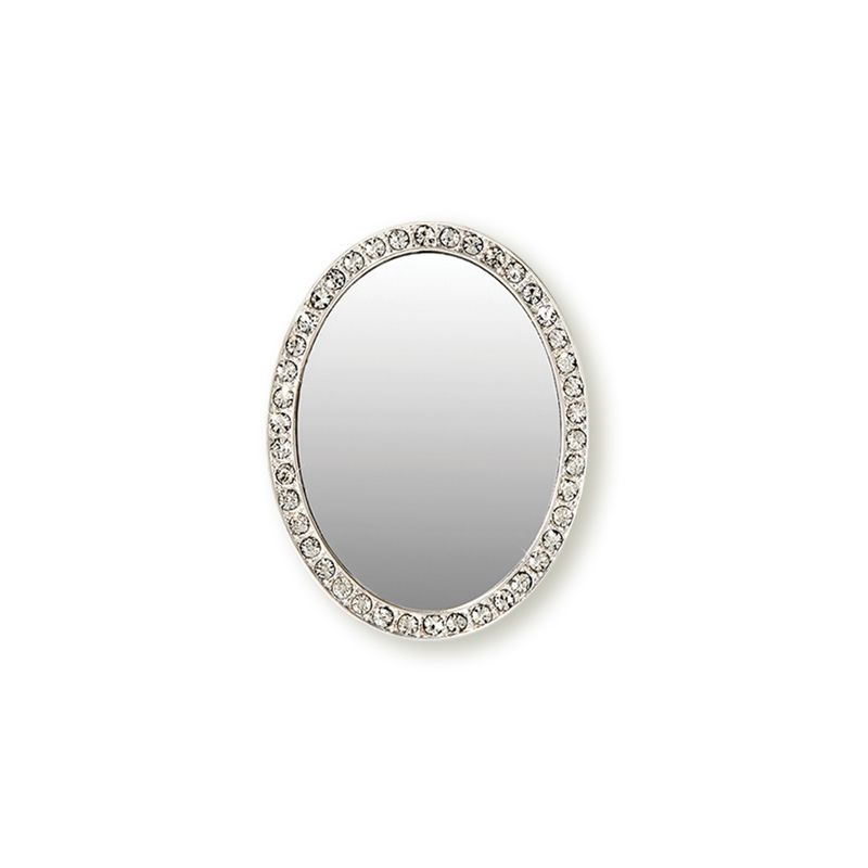 iDecoz Unbreakable Oval Phone Mirror - Silver with Crystals