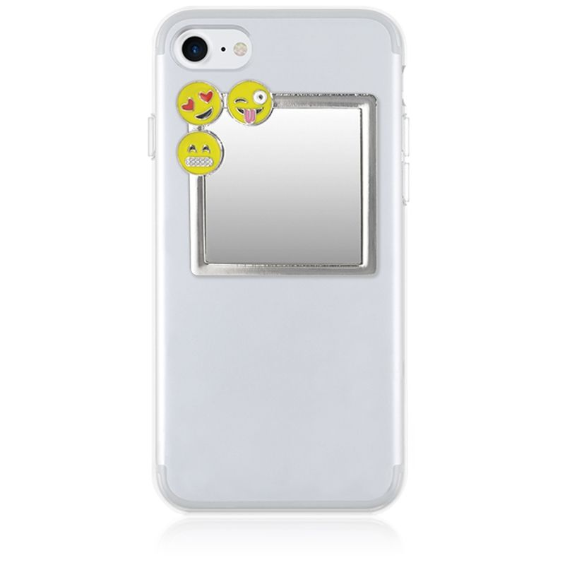 iDecoz Unbreakable Square Phone Mirror - Silver With Emoji Charms