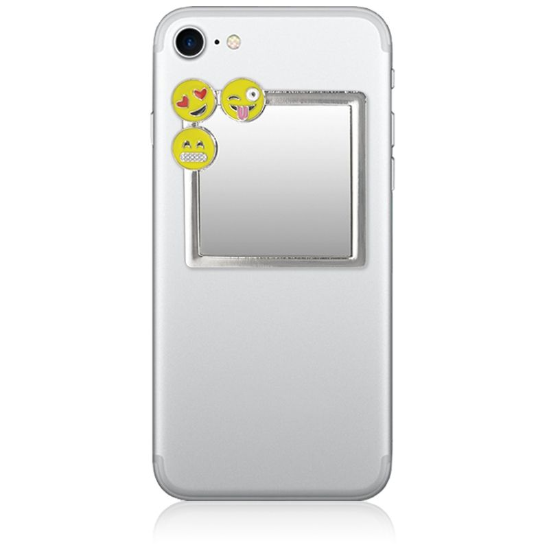 Unbreakable Square Phone Mirror - Silver With Emoji Charms