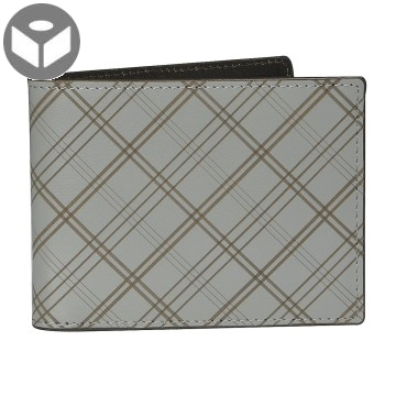 J.FOLD Leather Wallet with Coin Pouch Plaid - Grey