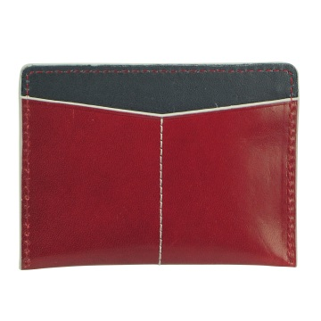 J.FOLD Flat Carrier Leather Wallet - Red/Blue