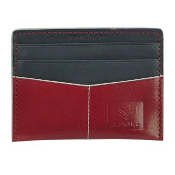 Flat Carrier Leather Wallet - Red/Blue