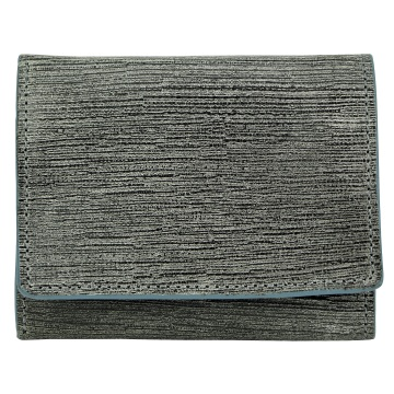 J.FOLD Flat Panel Tri-fold Leather Wallet - Gray/Blue