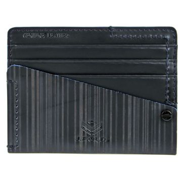 J.FOLD Flat Carrier Leather Wallet - Navy