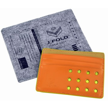 Flat Carrier Leather Wallet - Orange