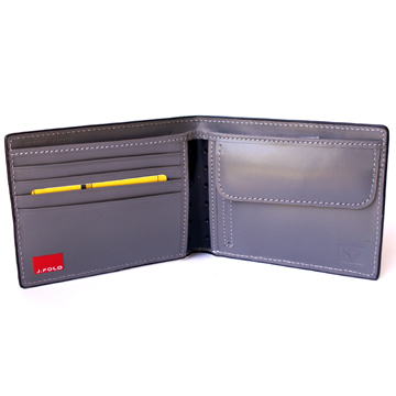 J.FOLD Leather Wallet with Coin Pouch Reverb - Grey