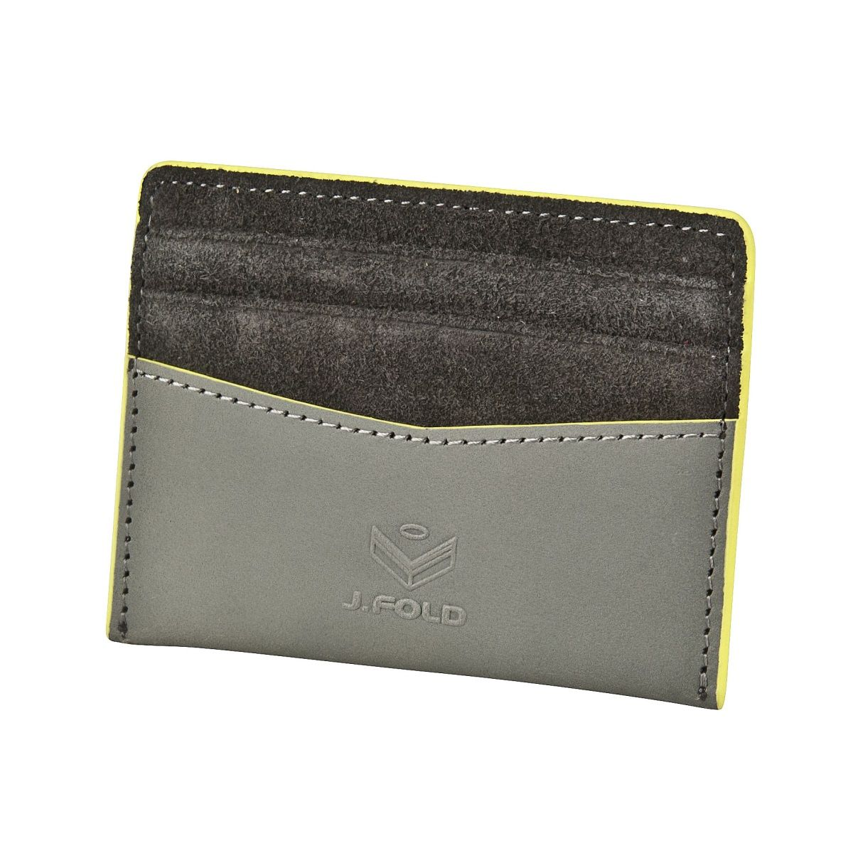 Flat Carrier Leather Wallet - Grey
