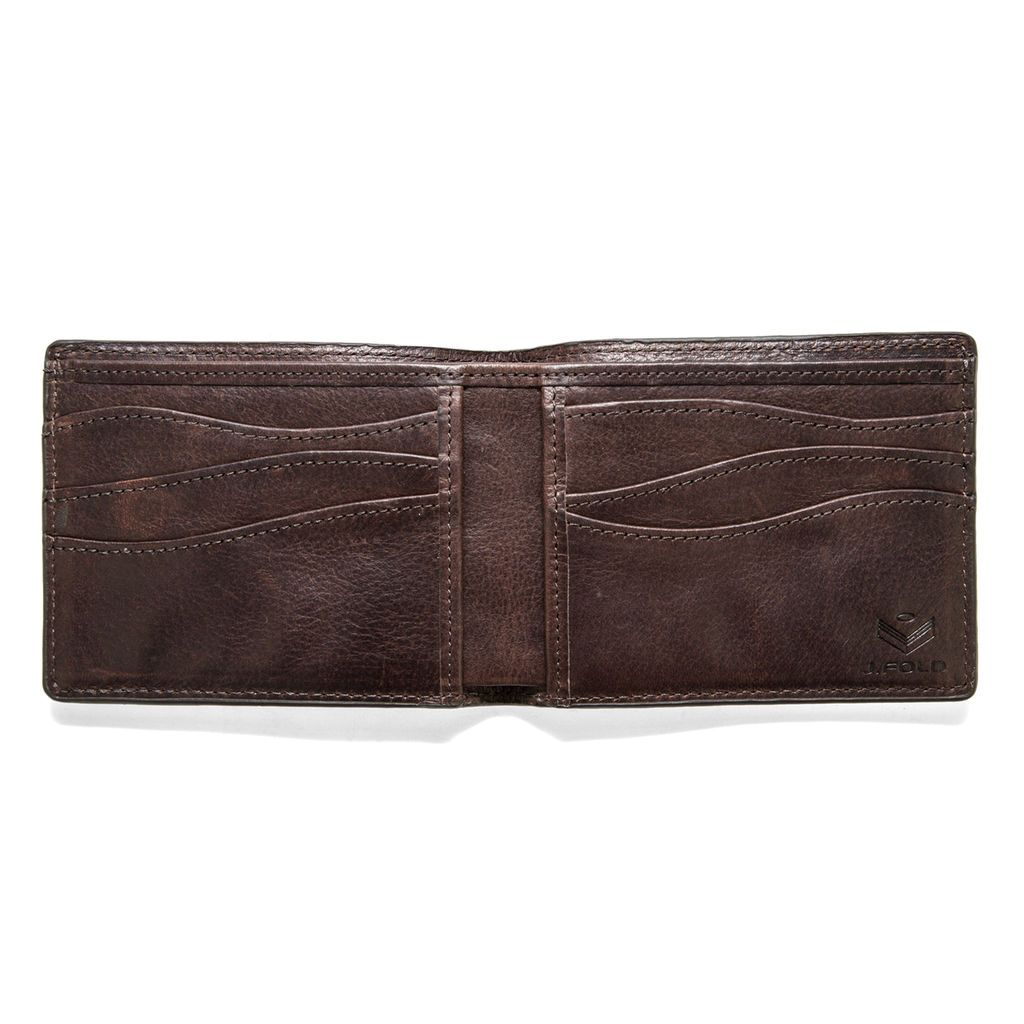 J.FOLD Leather Wallet Furrow - Brown