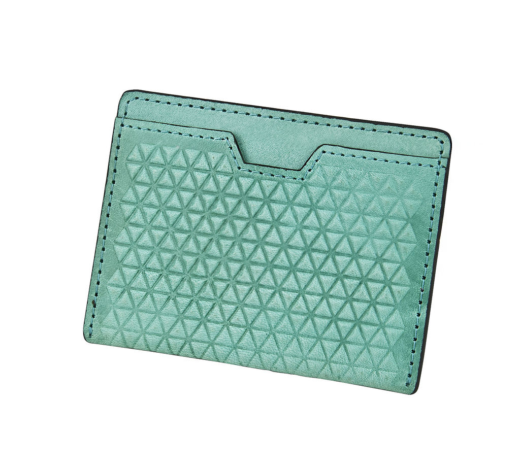 J.FOLD Tetra Flat Carrier Leather Wallet - Turquoise