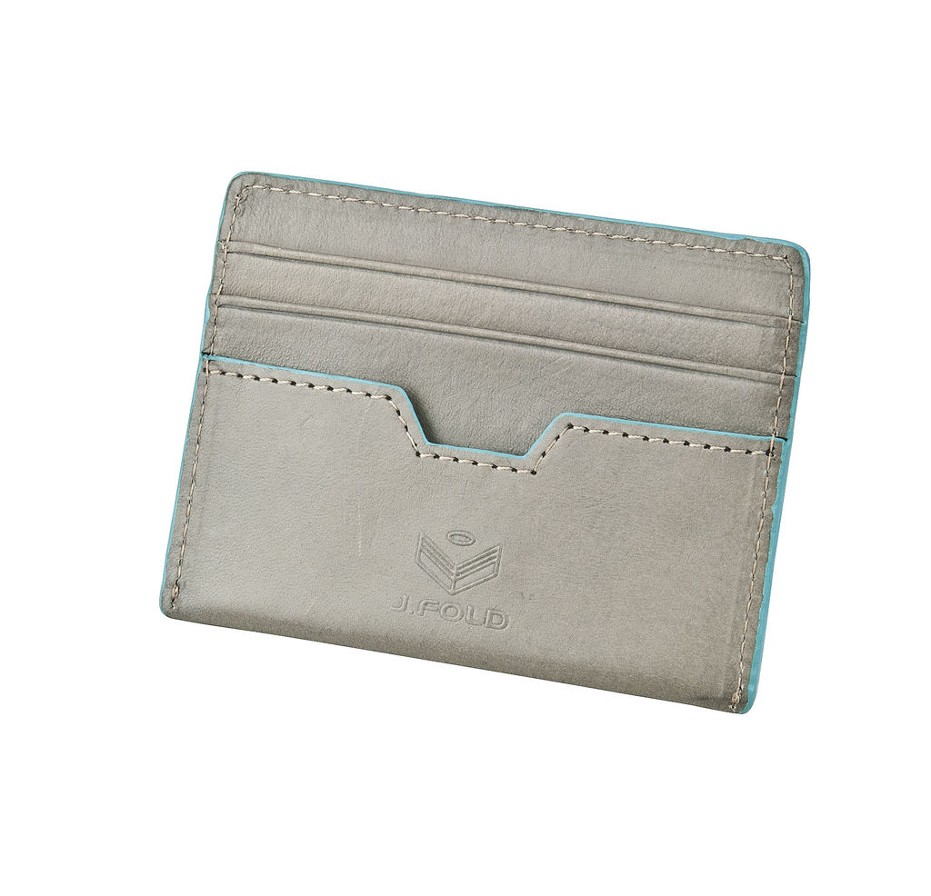 J.FOLD Tetra Flat Carrier Leather Wallet - Gray