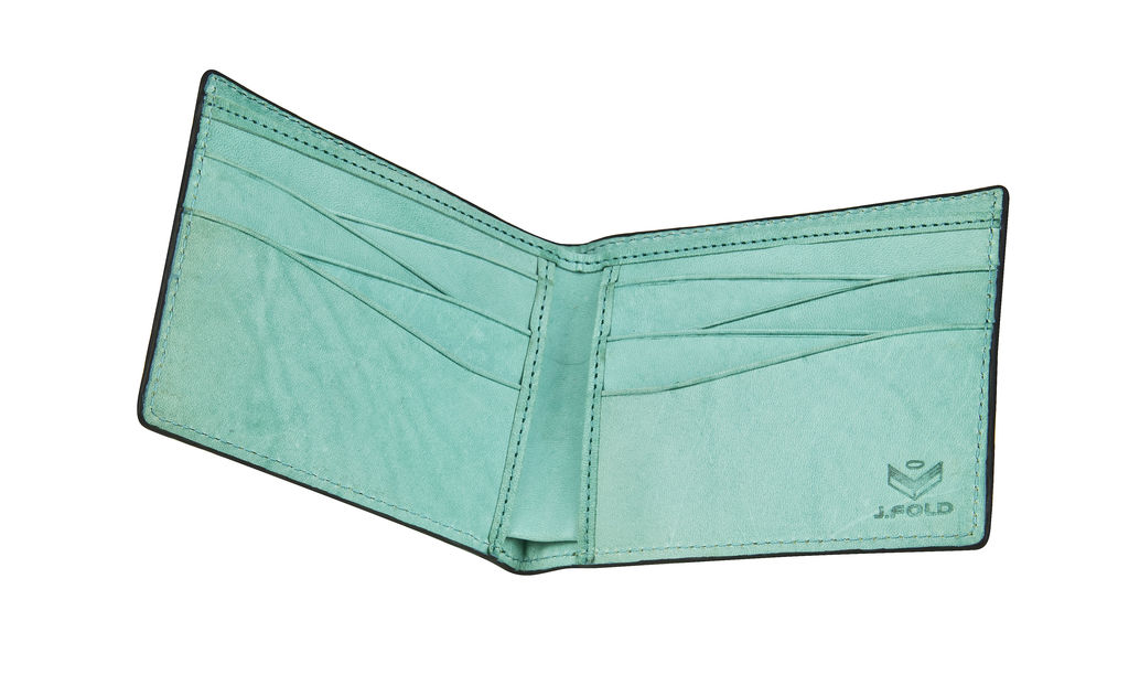 J.FOLD Tetra Leather Wallet - Turquoise