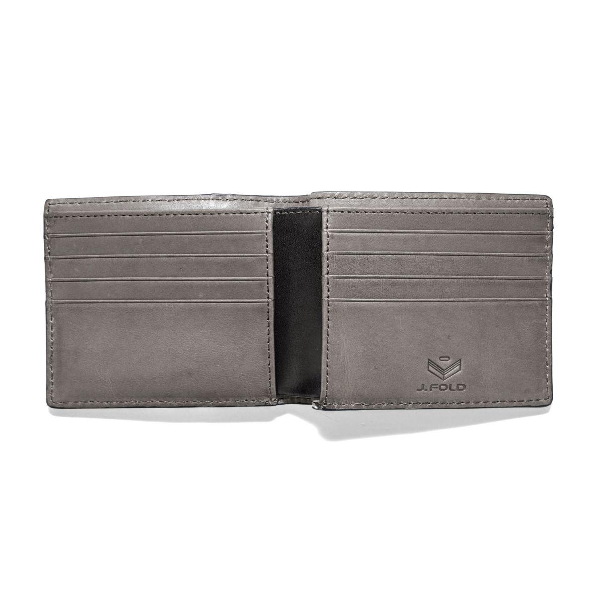 J.FOLD Roadster Leather Wallet - Black/Grey