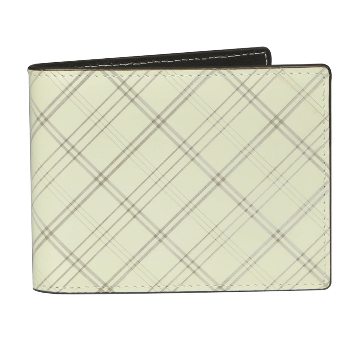J.FOLD Leather Wallet Plaid - Ivory
