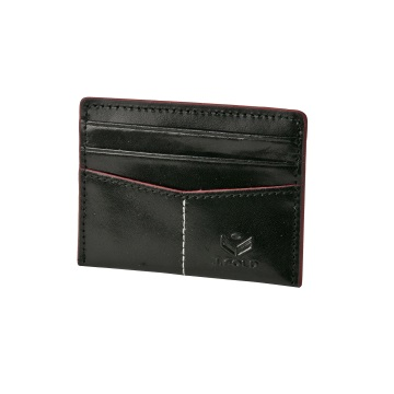 J.FOLD Flat Carrier Leather Wallet - Black/Red