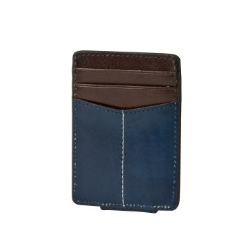 J.FOLD ארנק עור Magnetic Money Clip  - כחול
