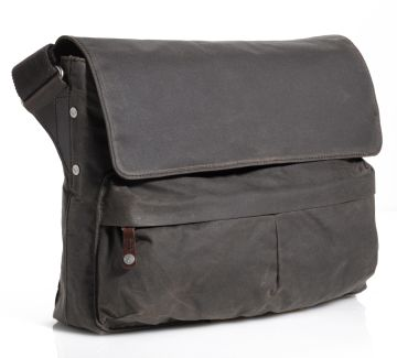 J.FOLD Cargo Waxed Canvas 15 Laptop Messenger - Chocolate
