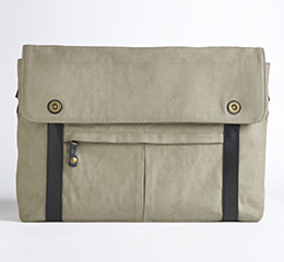 J.FOLD Train Coated Canvas 15 Laptop Messenger - Stone