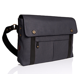 J.FOLD Train Coated Canvas 15 Laptop Messenger - Charcoal