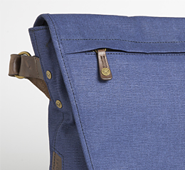 J.FOLD Courier Coated Canvas 15  Laptop Messenger - Navy