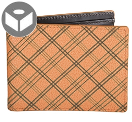 J.FOLD Leather Wallet with Coin Pouch Plaid - Orange
