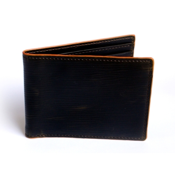 J.FOLD Heavy Grain Leather Wallet - Dark Brown/ Orange Trim