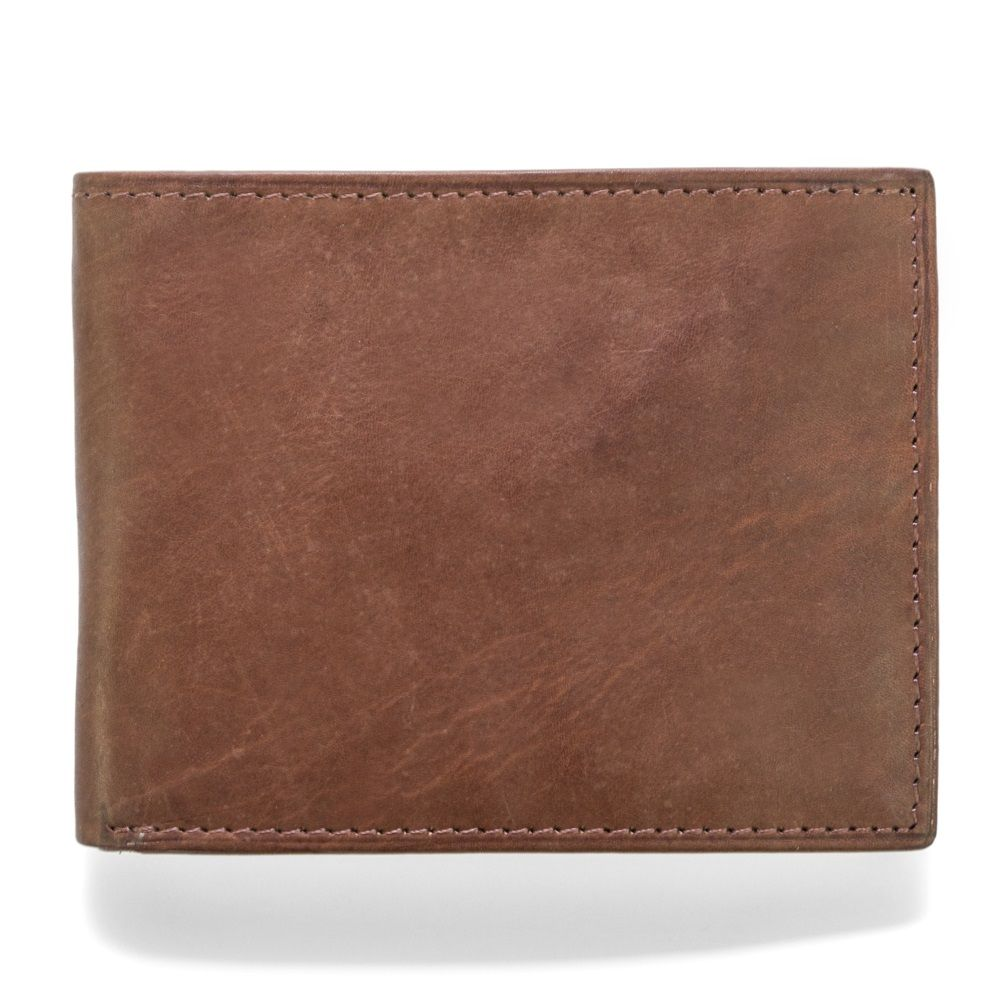 MUNDI Men's Crunch Leather Passcase Wallet - Brown