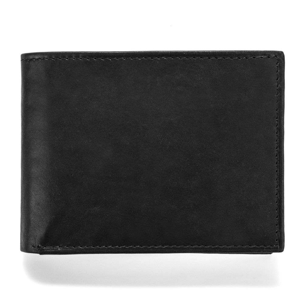 MUNDI Men's Crunch Leather Passcase Wallet with Removable Coin Pouch - Black