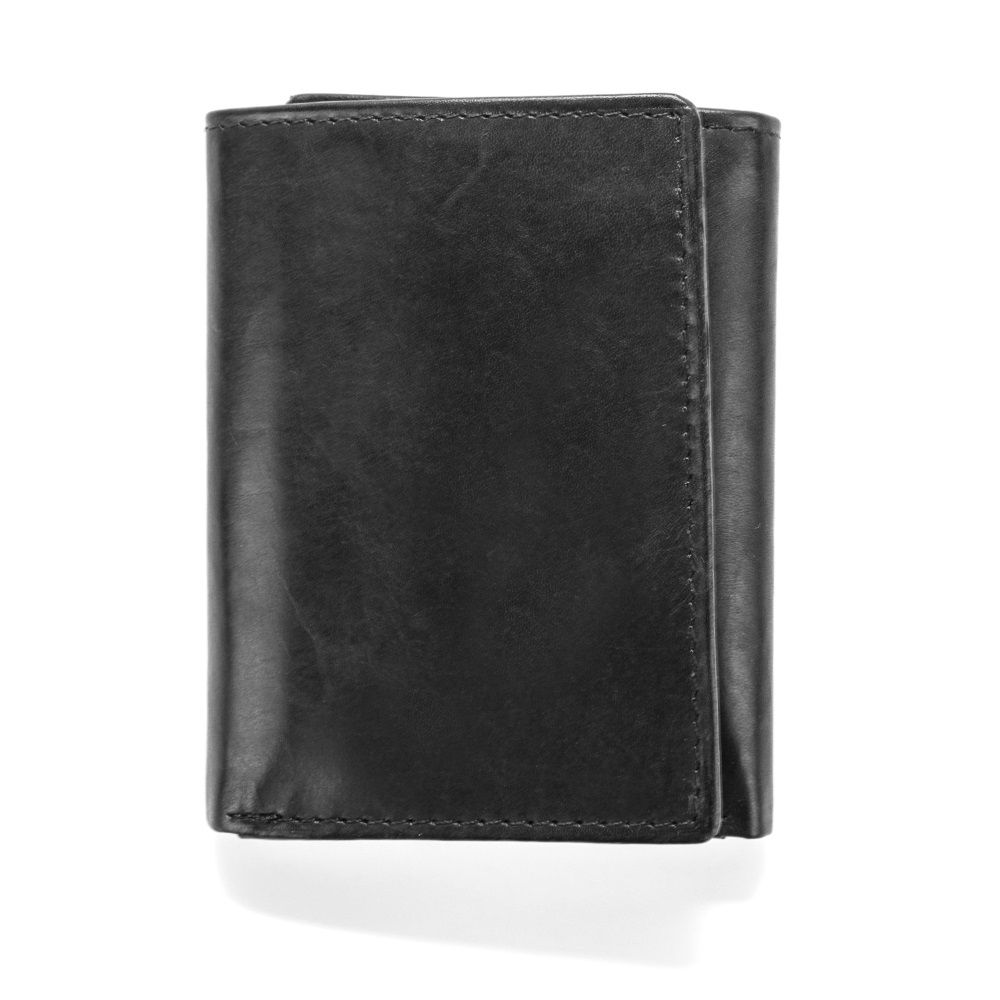 MUNDI Men's Crunch Leather Trifold Wallet - Black