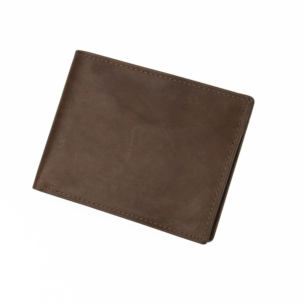 MUNDI Men's Antique Leather Passcase Wallet - Brown