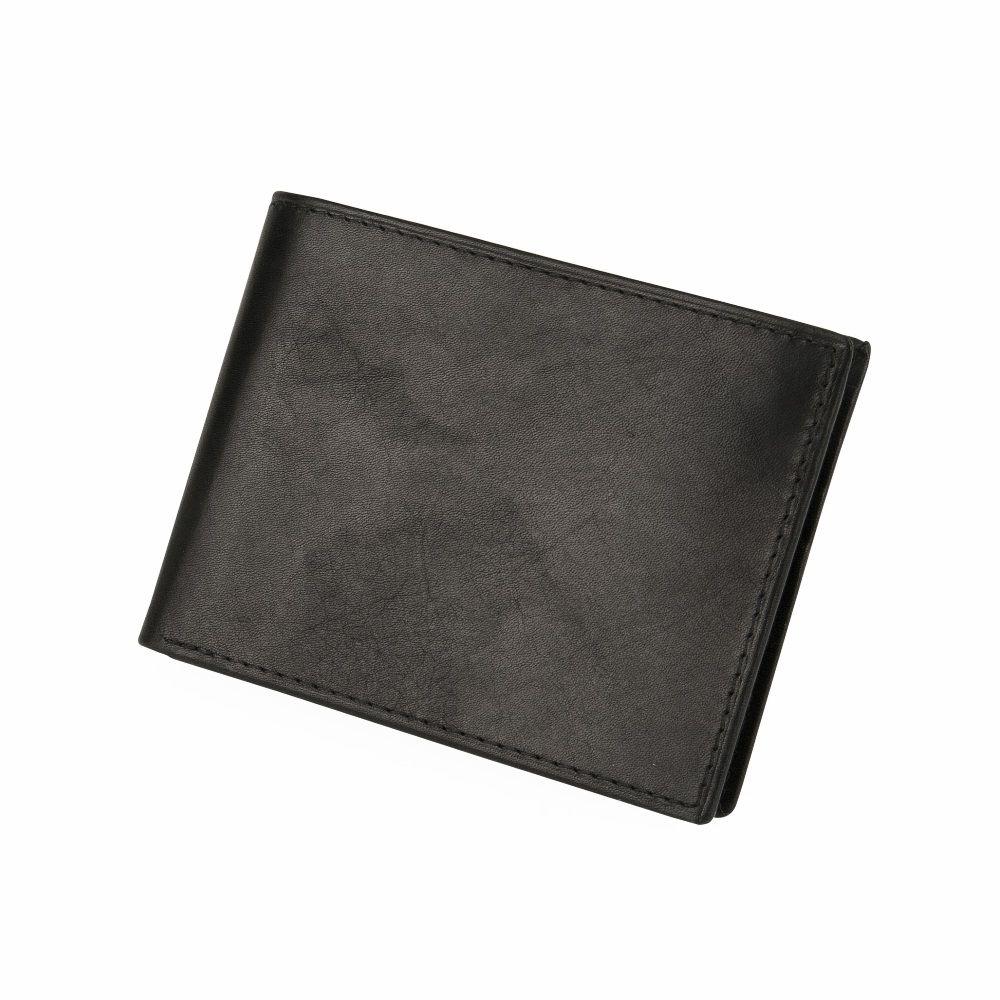 MUNDI ארנק עור Antique עם תא נשלף למטבעות - שחור