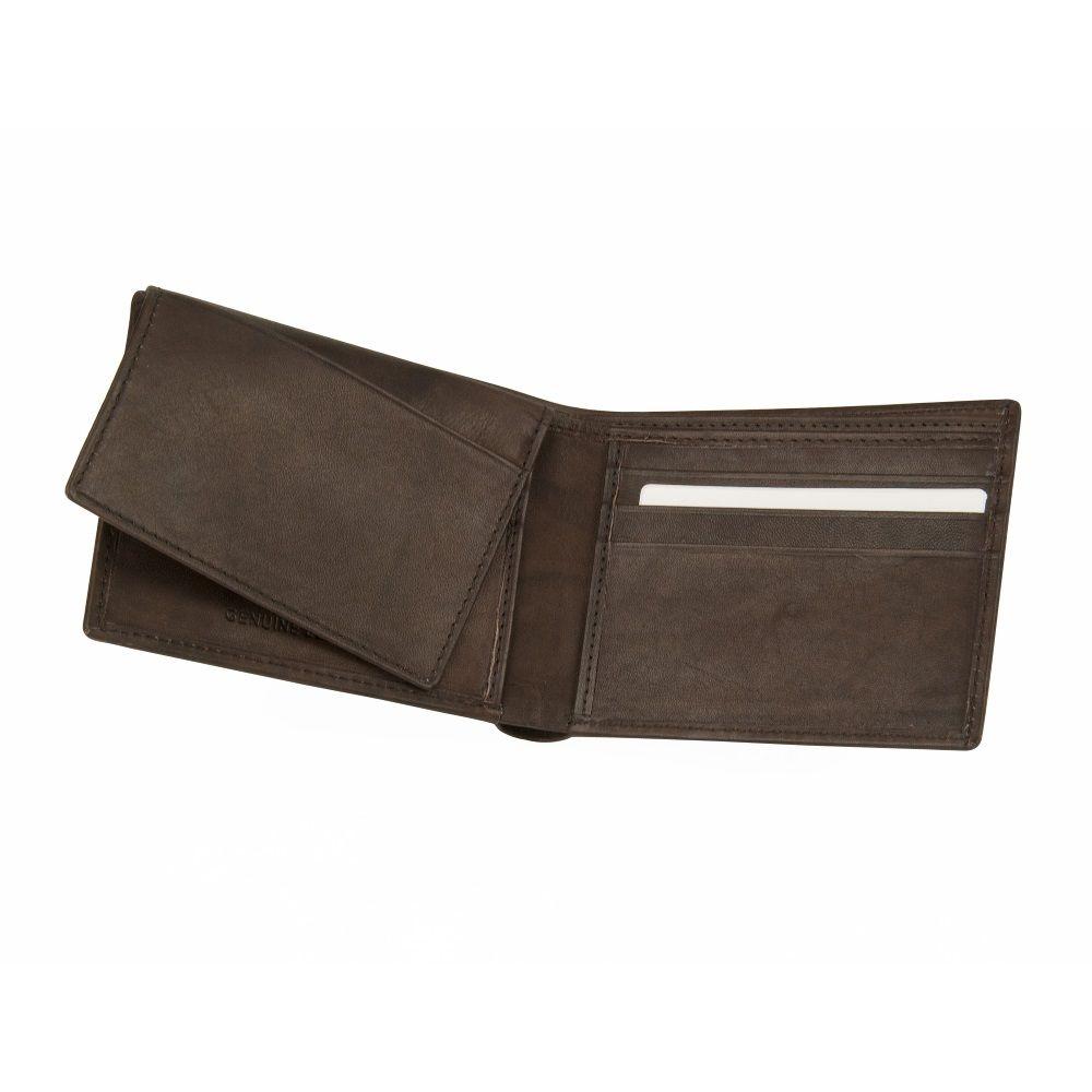 MUNDI Men's Antique Leather Passcase Wallet - Dark Brown