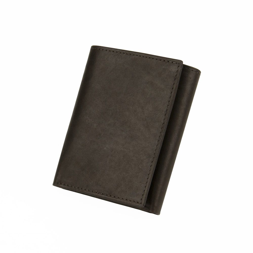 Men's Antique Leather Trifold Wallet - Black