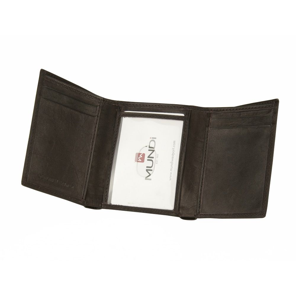 MUNDI Men's Antique Leather Trifold Wallet - Black