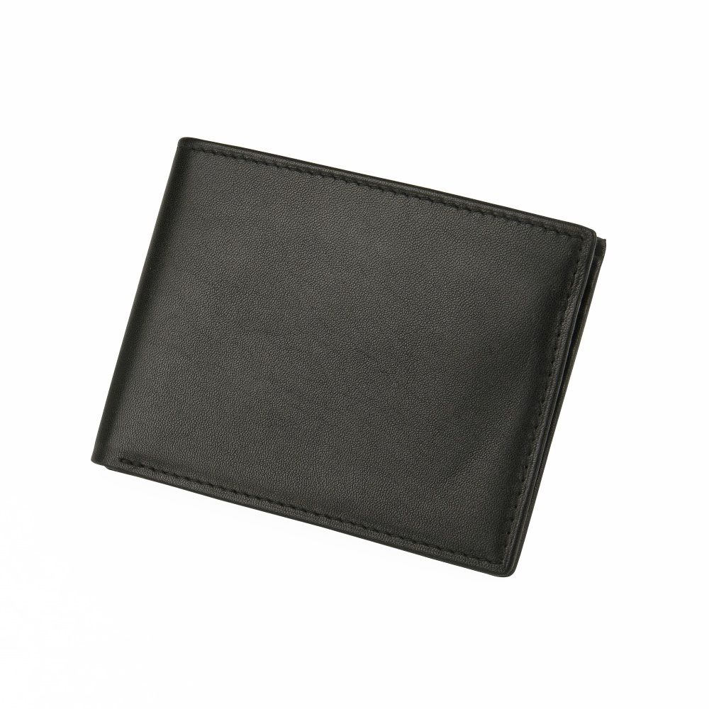 MUNDI Men's Leather Passcase Wallet - Black
