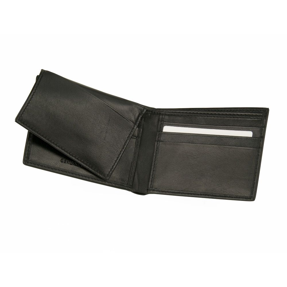 MUNDI Men's Leather Passcase Wallet With Removable Coin Pouch - Black