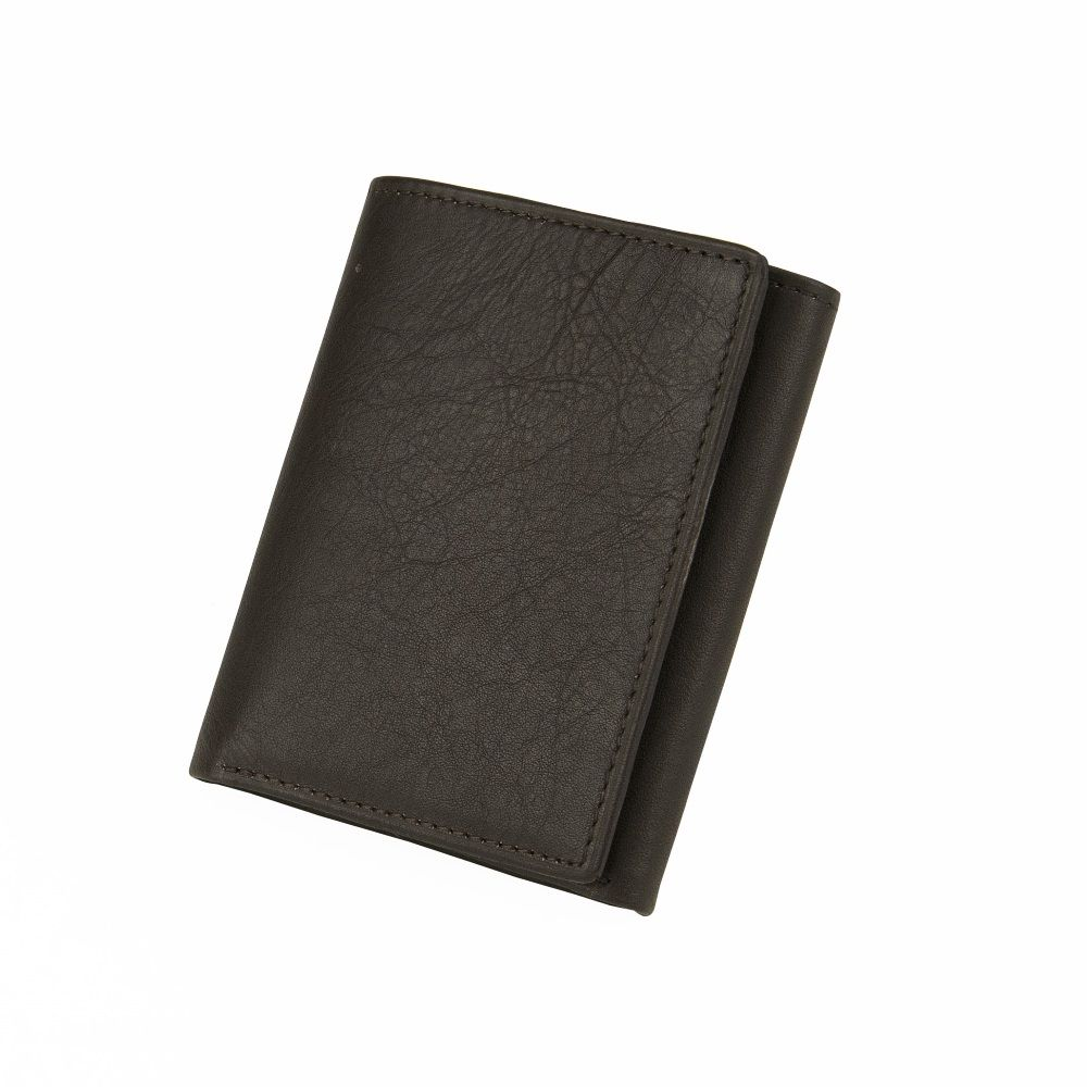 MUNDI Men's Pebble Leather Trifold Wallet - Brown