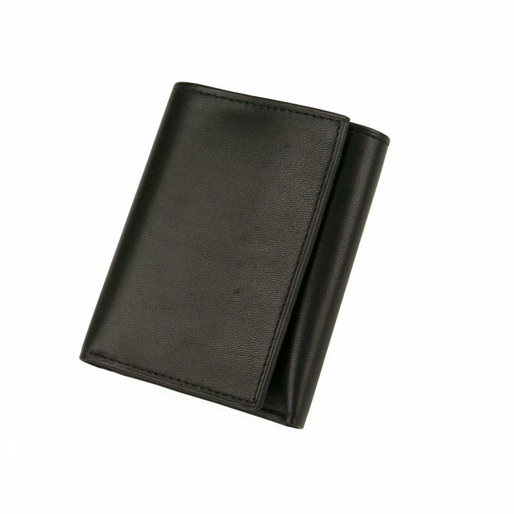 MUNDI Men's Leather Trifold Wallet - Black