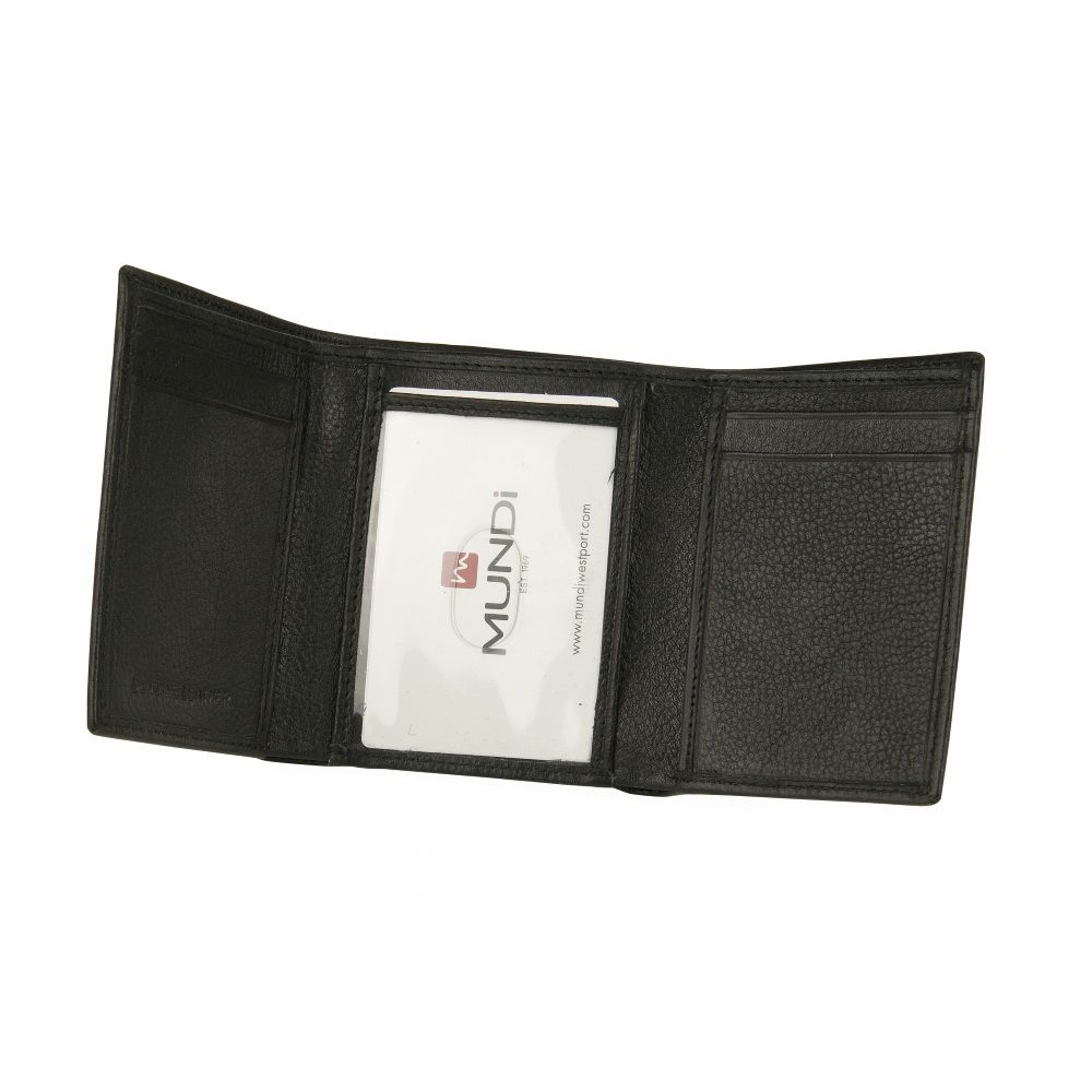 MUNDI Men's Pebble Leather Trifold Wallet - Black