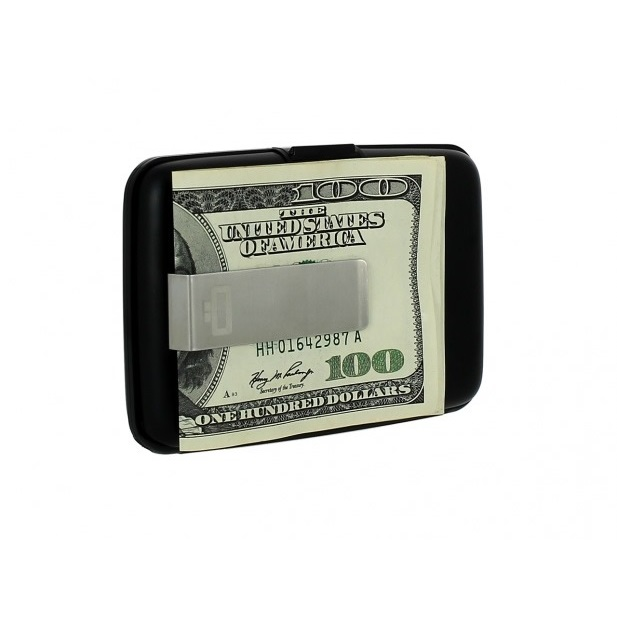 OGON Aluminum Wallet with Money Clip - Black