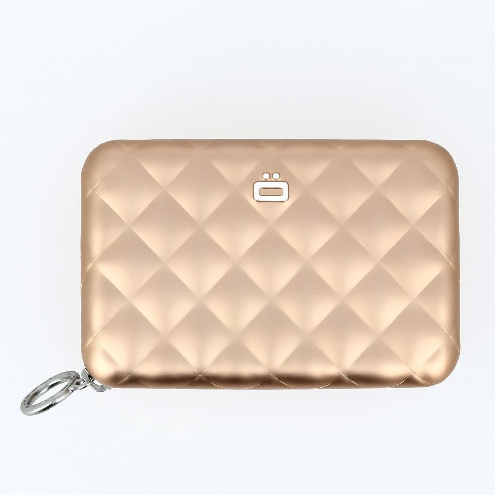 Aluminum Wallet Quilted Zipper - Rose Gold