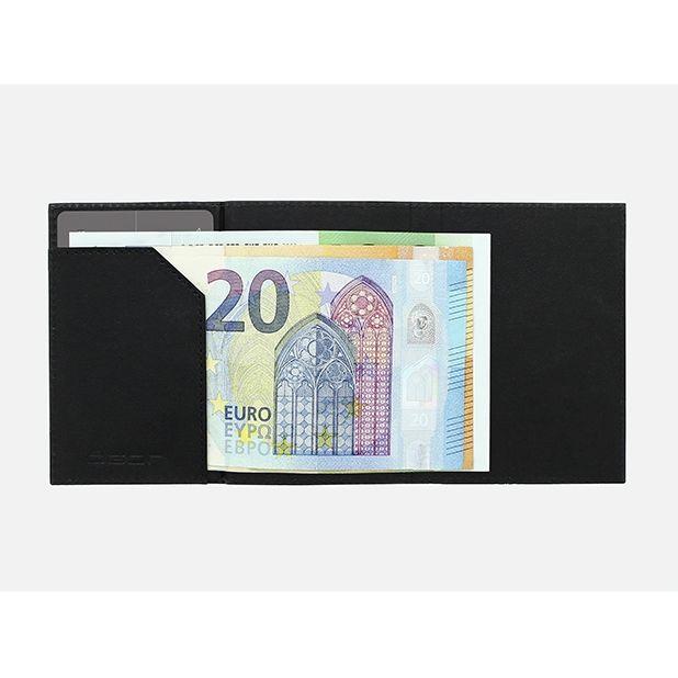 OGON ארנק אלומיניום מינימלסטי בשילוב עור - שחור