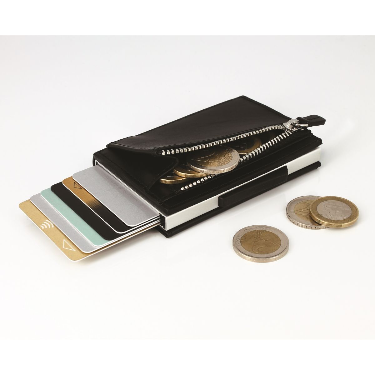 Cascade Card Case Wallet With Zipper - Black