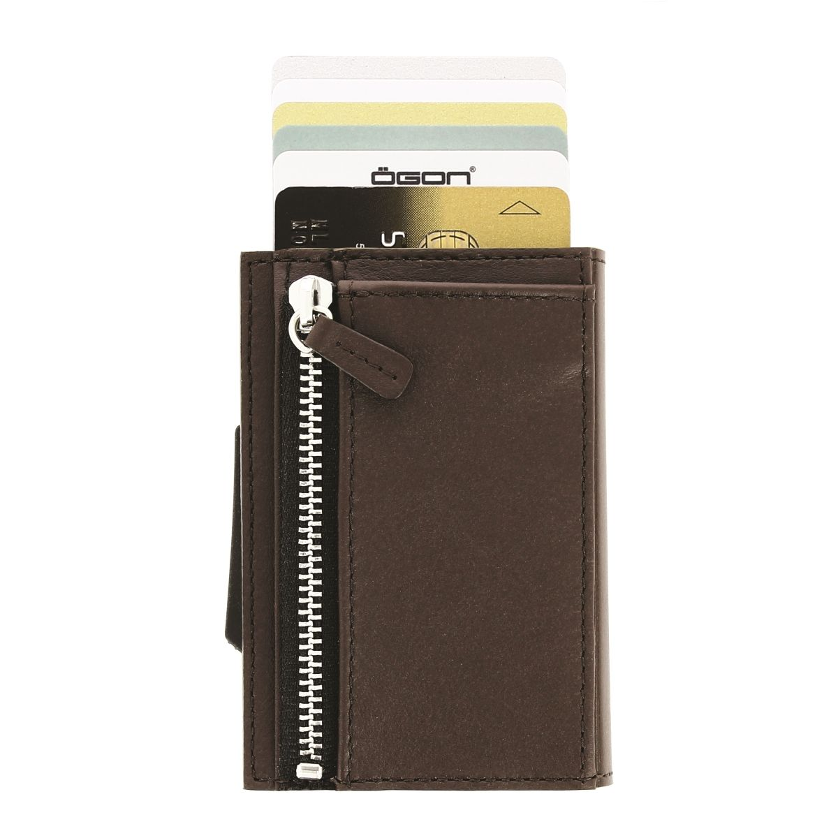 OGON Cascade Card Case Wallet With Zipper - Dark Brown