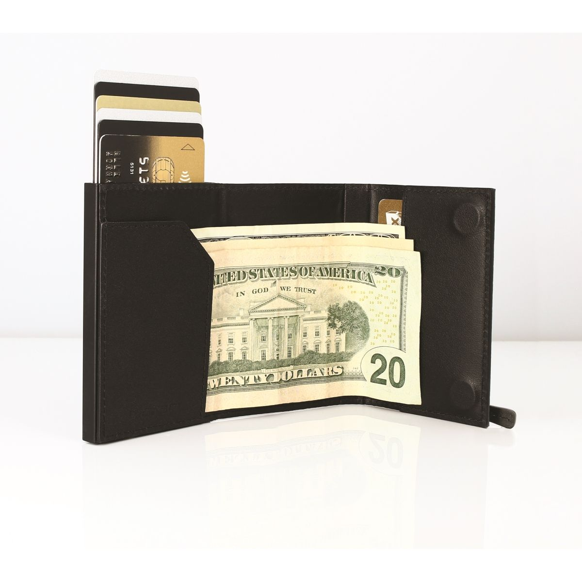 OGON Cascade Card Case Wallet With Zipper - Full Black
