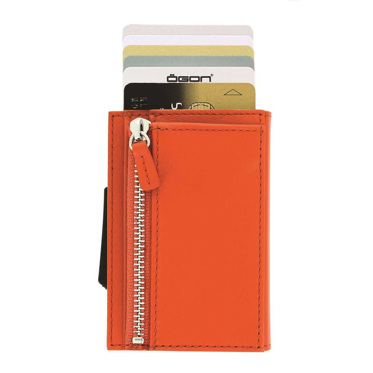 Cascade Card Case Wallet With Zipper - Orange