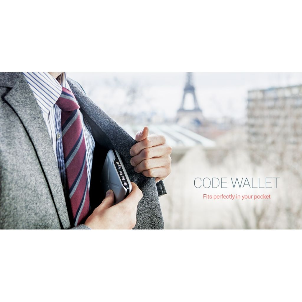 OGON Mini Safe Code Wallet - Platinium