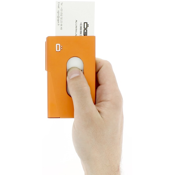 OGON Aluminum Business card holder One Touch - Orange