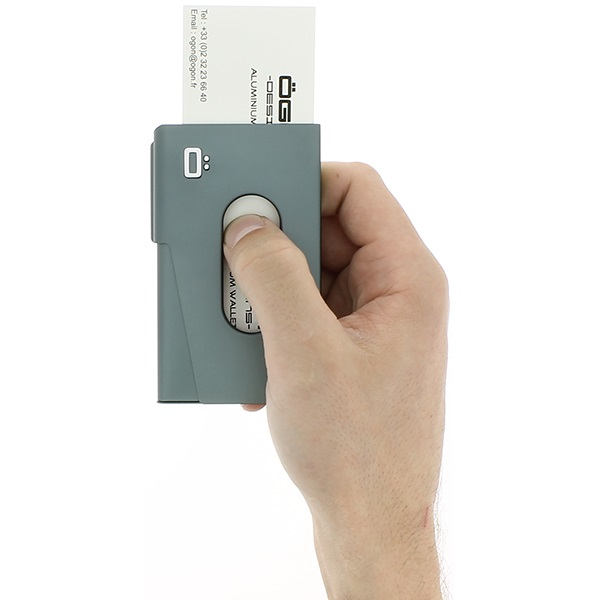 OGON Aluminum Business card holder One Touch - Platinium