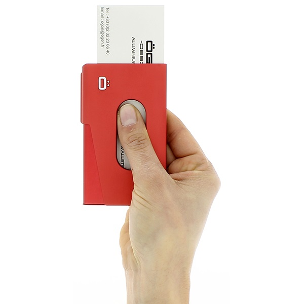 OGON Aluminum Business card holder One Touch - Red